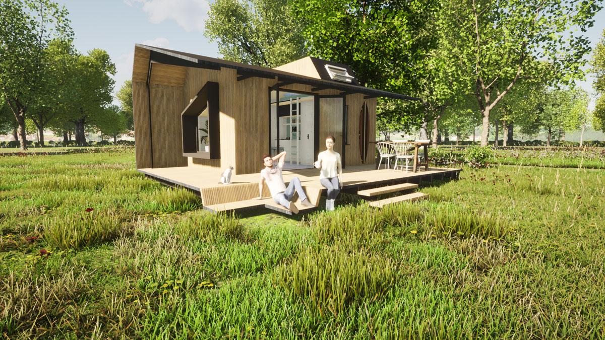 ECOBLOQ model K A bio based tiny house veranda