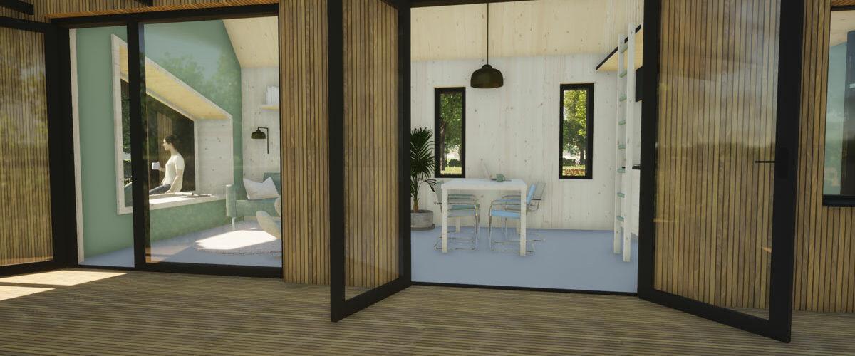 ECOBLOQ model K AB bio based tiny house veranda