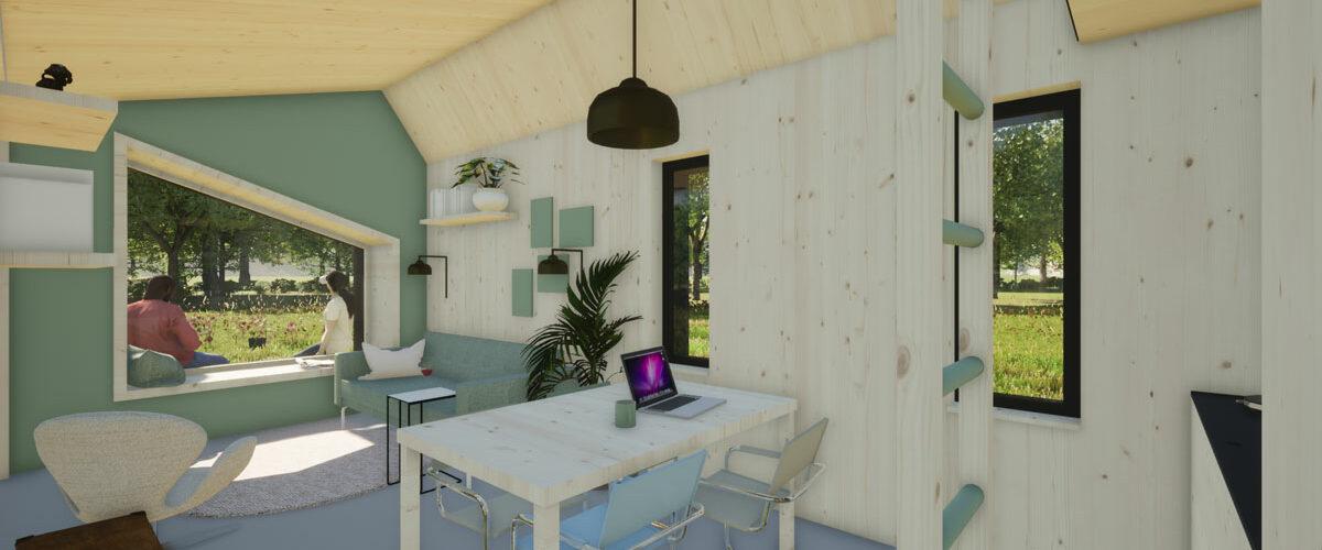ECOBLOQ model K AB bio based tiny house woonkamer