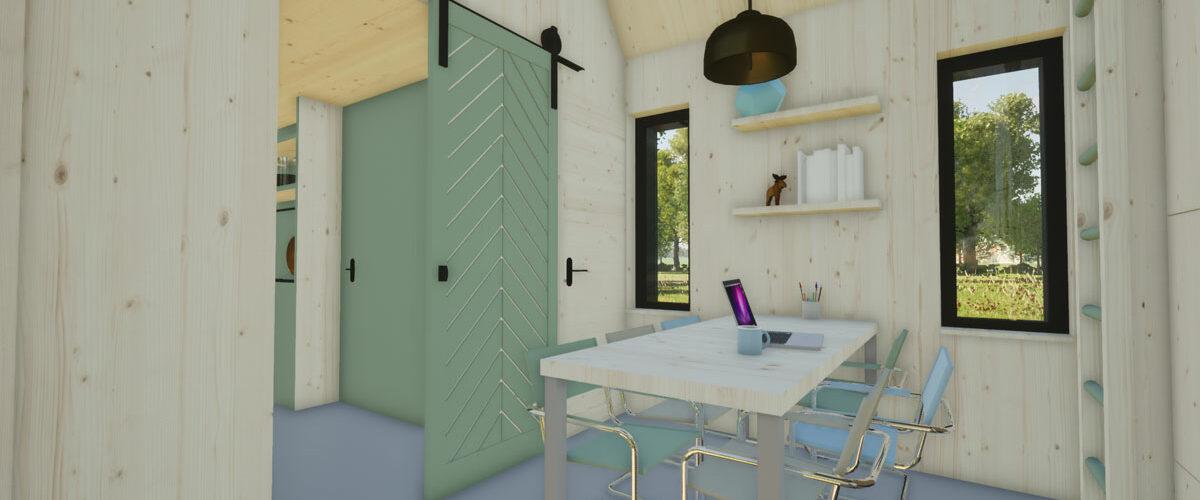 ECOBLOQ model K bio-based tiny house met barn-door