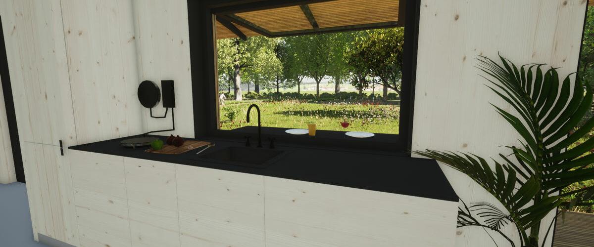 ECOBLOQ model K bio based tiny house met buitenbar